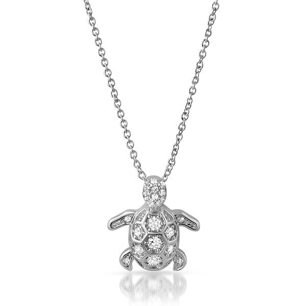 CZ Sea Turtle Silver Pendant Necklace Set