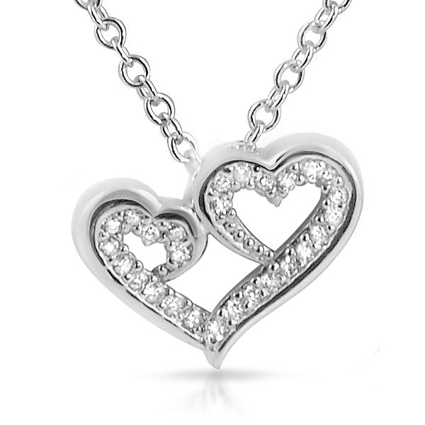 Triple Heart Signity CZ Necklace Set 925 Silver