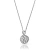 Silver CZ Micropave Ball Pendant Chain Set