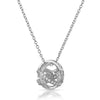 Silver CZ Modern Sphere Pendant Necklace Set