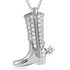Sterling Silver Cowboy Boot CZ Necklace Set