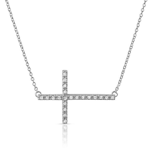 Silver CZ Small Sideways Cross Necklace