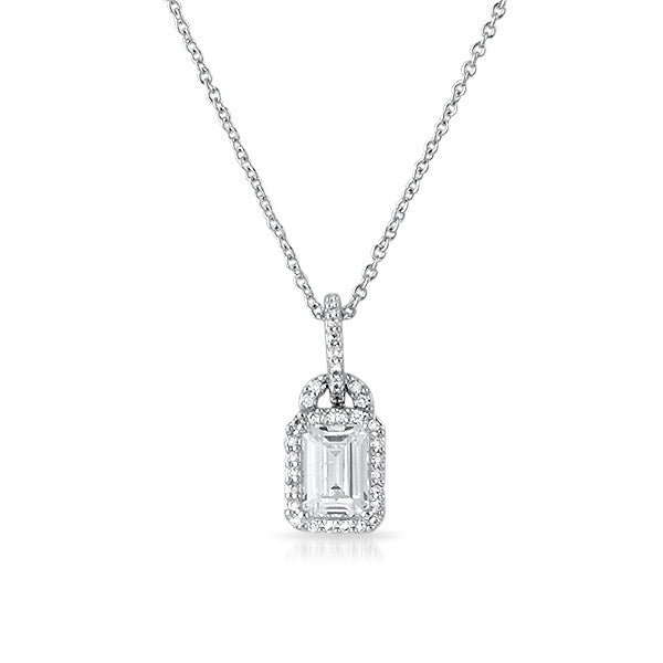 Fine Radiant Cut Flawless CZ Halo Necklace