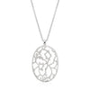 Matte Silver Tone Oval Floral Necklace