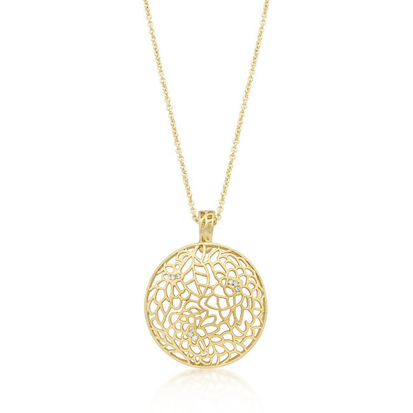 14K Gold Tone Floral CZ Necklace