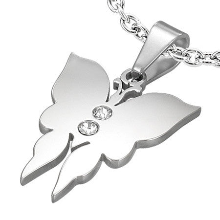 Polished Steel Butterfly Charm and Chain Set