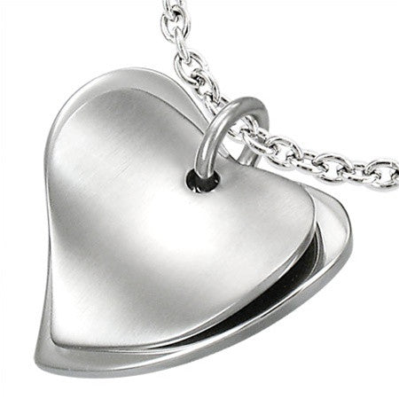 Stainless Steel Double Heart Necklace Set