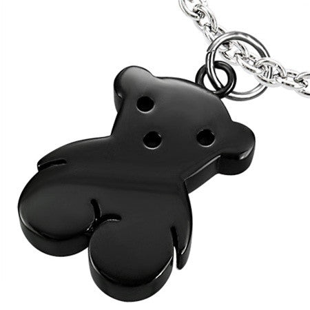 Black Stainless Steel Teddy Bear Charm Necklace