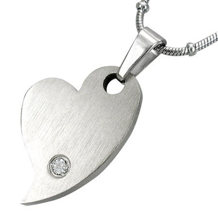Stainless Steel CZ Heart Charm Necklace
