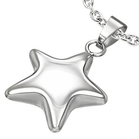 316L Polished Steel STAR Charm Necklace