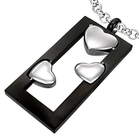 Two Tone Floating Hearts Pendant Set