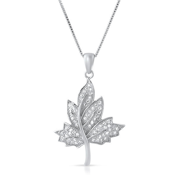 Silver Cubic Zirconia Maple Leaf Necklace Set
