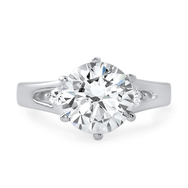 2.60 CTW Modern Sterling Silver 3 Stone CZ Ring
