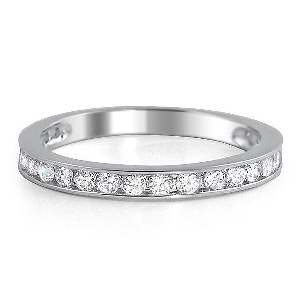 Sterling Silver Channel Set Simulated Diamond Band