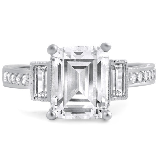 Fancy Emerald Cut Sterling Silver Cocktail Ring
