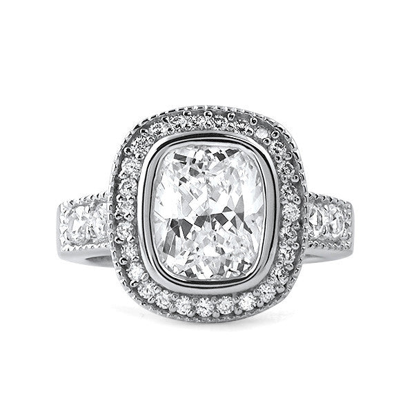 3.40 CTW Cushion Cut CZ Halo Ring
