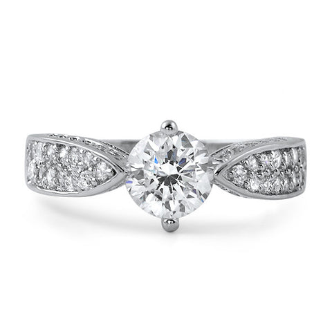 1.26 CTW Unique Silver CZ Engagement Ring