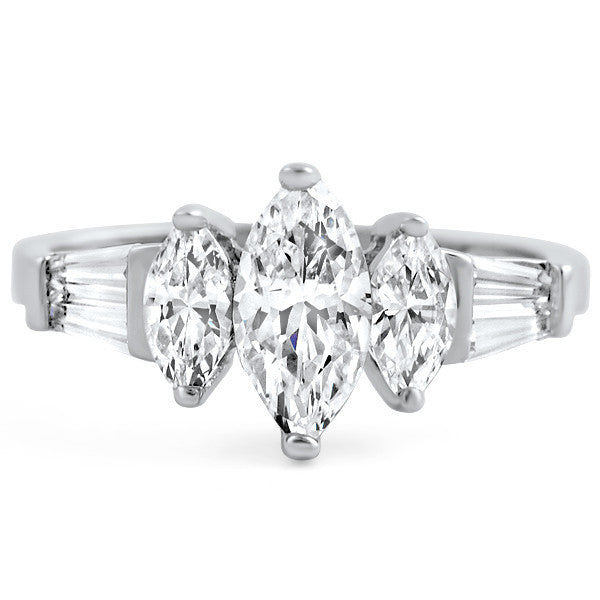 Sterling Silver 3 Stone Marquise Engagement Ring