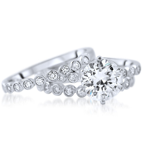 2.68 CTW Cubic Zirconia Solitaire Silver 3 Ring Set
