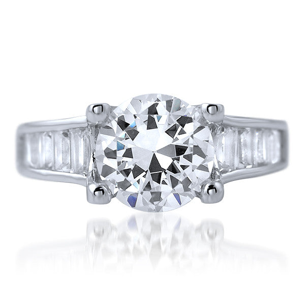 2.85 CTW Solitaire Baguette Accented Engagement Ring