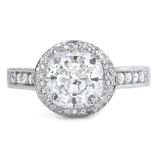 2.5 Carat Cushion Cut Fancy CZ Engagement Ring