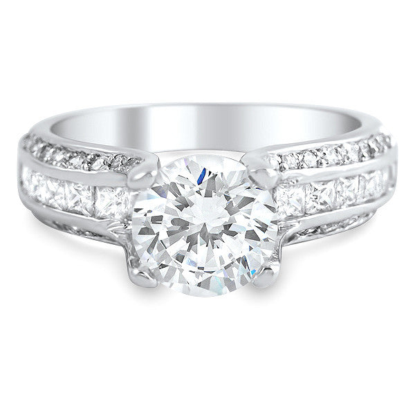 4.06 CTW Silver CZ Solitaire Engagement Ring