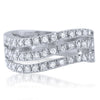 1.45 CTW Wave Design Silver CZ Fashion Ring
