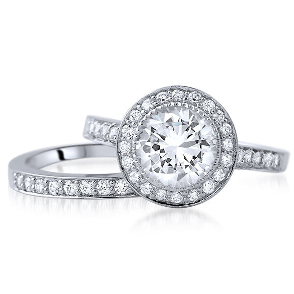 2.5 CTW Silver Bezel Set Halo Wedding Ring Set