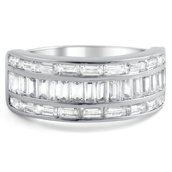 Sterling Silver All Baguette CZ Fashion Ring