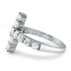 Cubic Zirconia Silver Horizontal Cross Fashion Ring