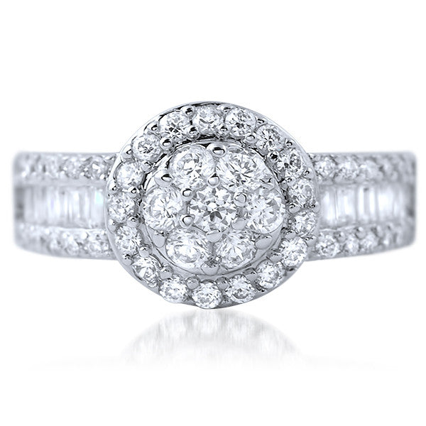 2.45 CTW Cluster CZ Halo Ring With Baguette Accents