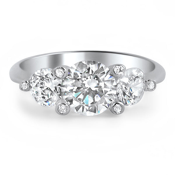 925 Silver Fancy 3 Stone CZ Engagement Ring