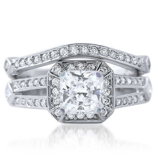 2.35 CTW Radiant Cut Silver CZ Engagement Set
