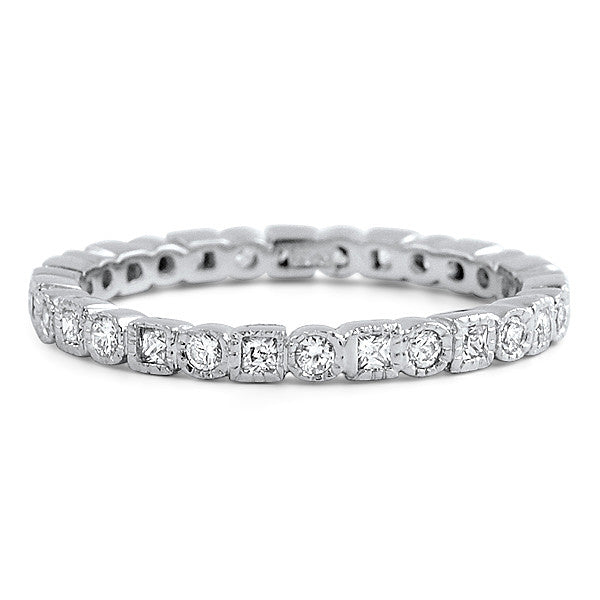 Princess and Round SIgnity CZ  Eternity Ring Stackable