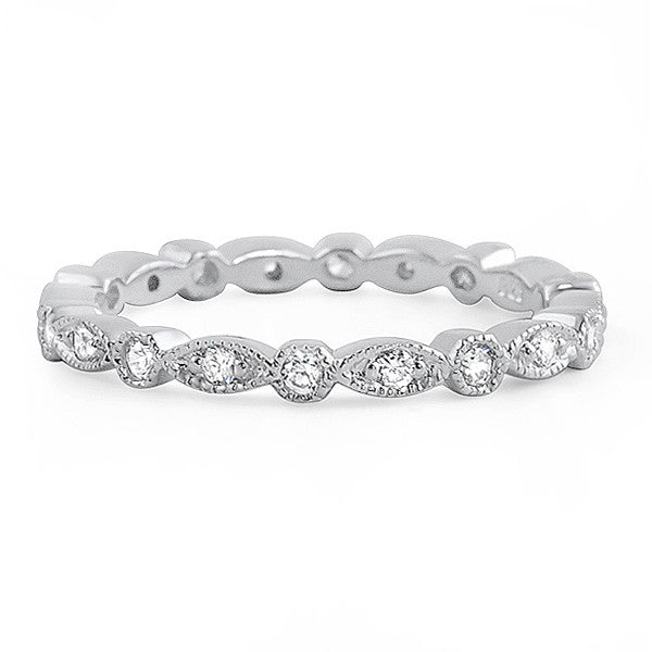 Silver Signity CZ Fancy Eternity Ring Stackable