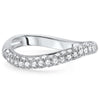 Sterling Silver Modern Curved CZ Pave Band