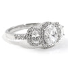 2 CTW 3 Stone Oval Cut Halo CZ Engagement Ring