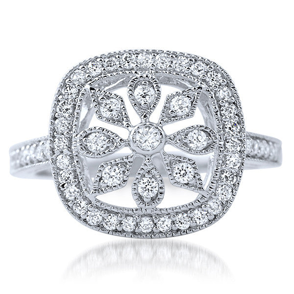 Sterling Silver Floral Design CZ Fashion Ring