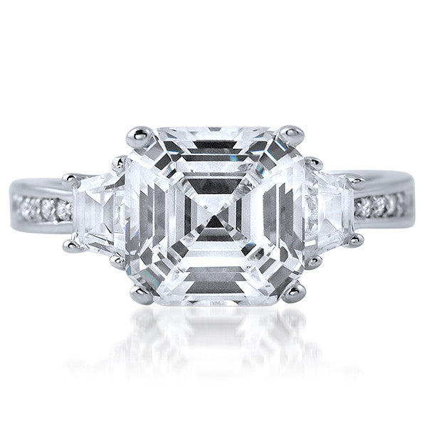 3.85 CTW Asscher Cut Trapazoid 3 Stone CZ Ring