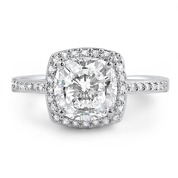 1.7 Carat Cushion Cut Flawless CZ Halo Ring
