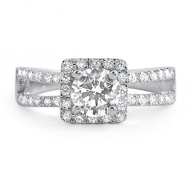 1 Carat Halo Split Shank CZ Engagement Ring