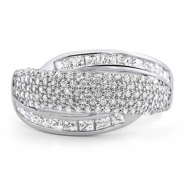 Signity CZ Pave Sterling Silver Fashion Ring