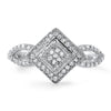 Silver CZ Micropave Womens Fashion Ring