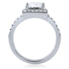 2.10 CTW Fancy Emerald Cut CZ Engagement Ring