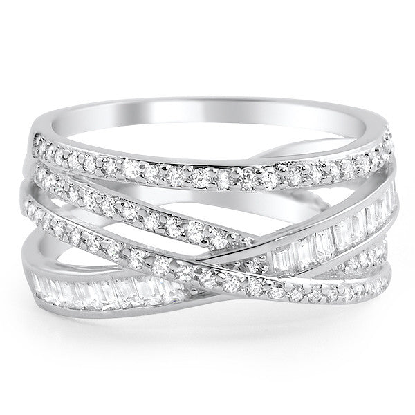 925 Silver Interwoven Signity CZ Fashion Ring