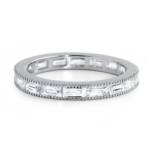 CZ Baguette Fancy Channel Set Eternity Band