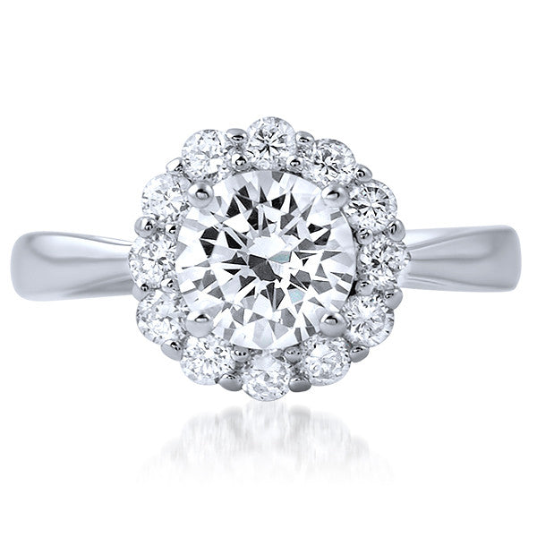 1.65 CTW Simple Solitaire Halo CZ Fashion Ring