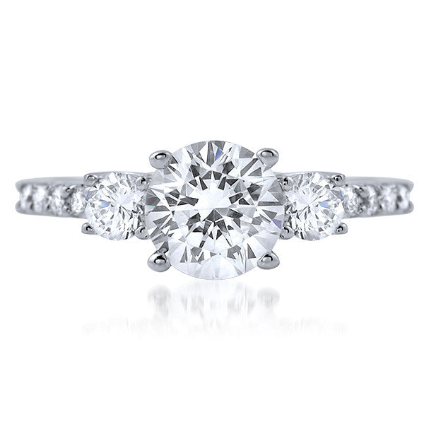 1.68 CTW Classic 3 Stone Silver CZ Engagement Ring