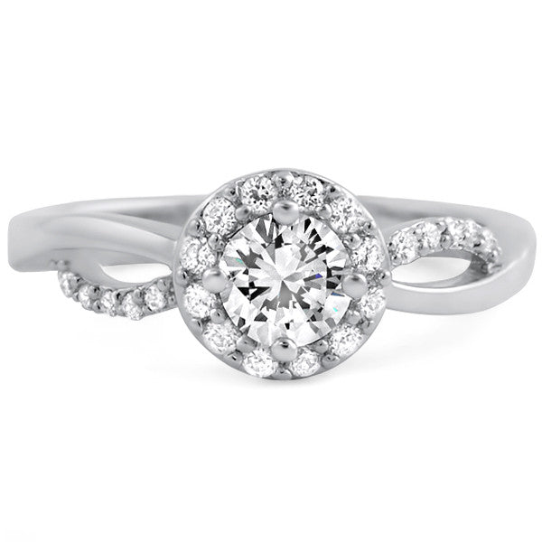 Sterling Silver Cubic Zirconia Halo Promise Ring