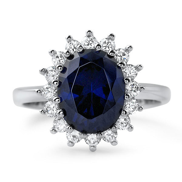 2.5 Carat Synthetic Sapphire Silver Ring